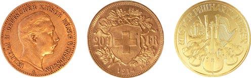 3 Beispiele bekannter Anlagemünzen